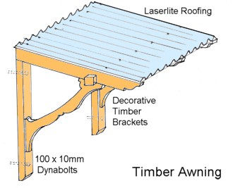 how to build wood awning
