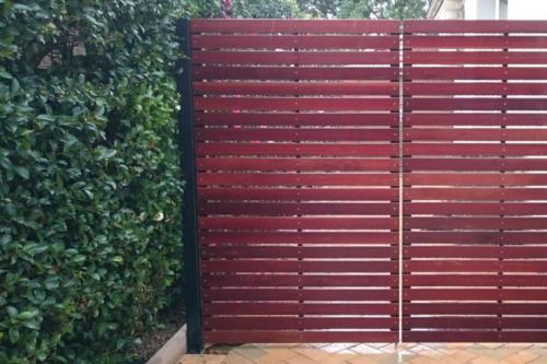 Slat Style Side Gate and Fixed Panel Stained preview